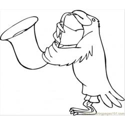 Bird Is Playing Saxophone Free Coloring Page for Kids