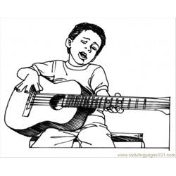 Boy Play Guitar Free Coloring Page for Kids