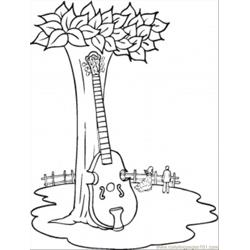 Contrabass Near The Tree Free Coloring Page for Kids
