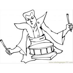 Musician With Drums Free Coloring Page for Kids