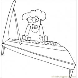 Old Grandma Is Playing Piano Free Coloring Page for Kids