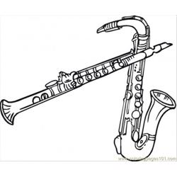 Two Saxophones Free Coloring Page for Kids