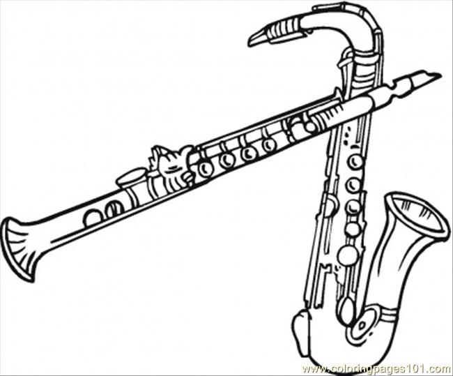 Two Saxophones Coloring Page