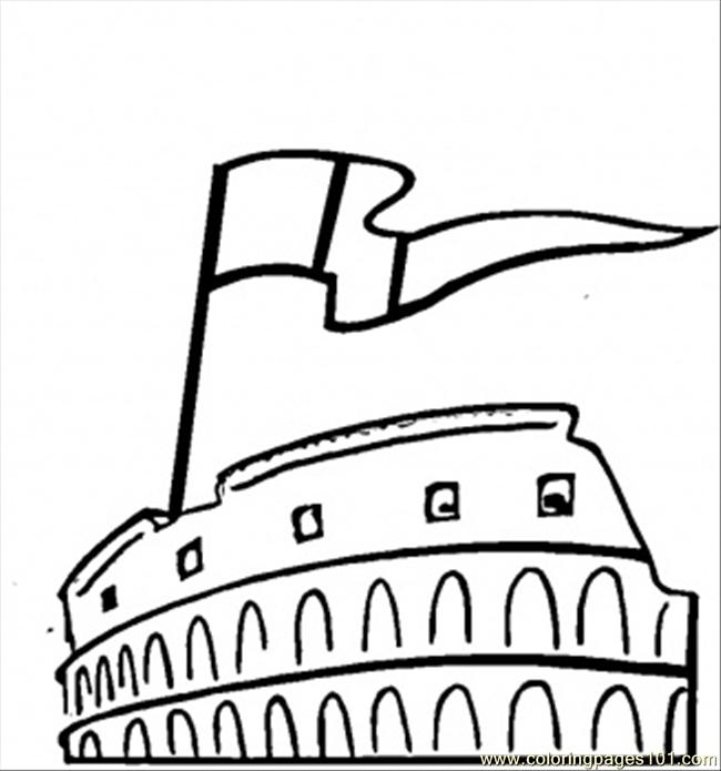 Flag And Colosseum Coloring Page