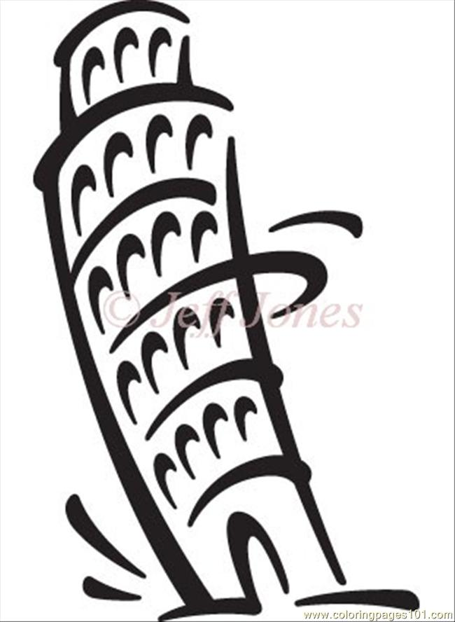 Italy Tower Pisa Coloring Page
