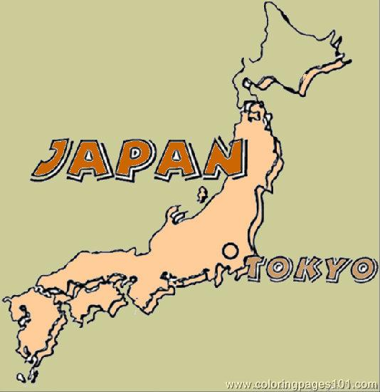 Map Of Japan  Coloring Page