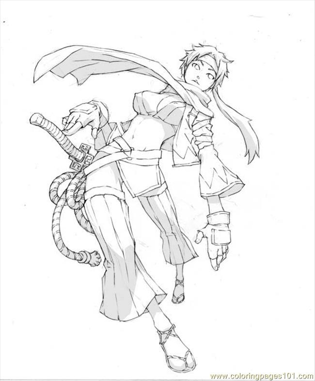 Apan Sword Girl By Osamaujunk Coloring Page Free Japan
