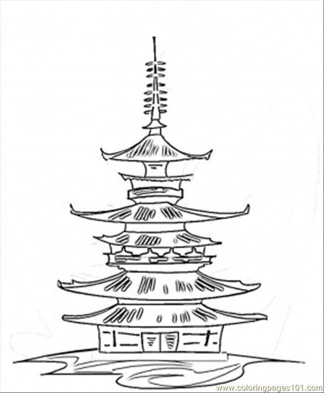High Pagoda Coloring Page - Free Japan Coloring Pages ...