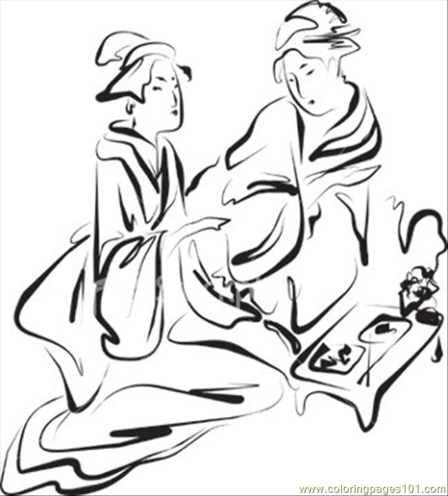Hoto  Japan Traditions Coloring Page