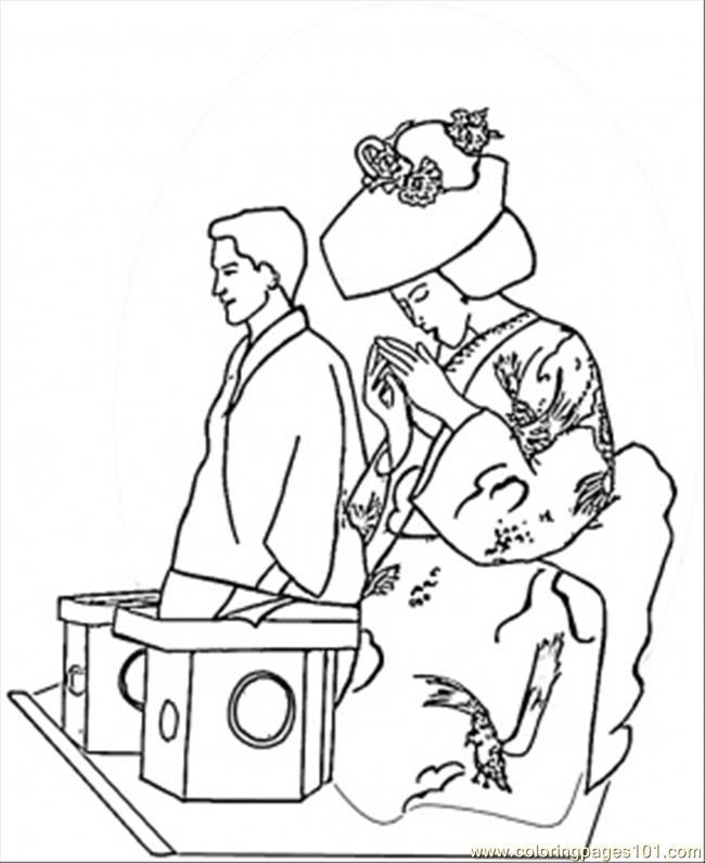 Japanese People Coloring Page