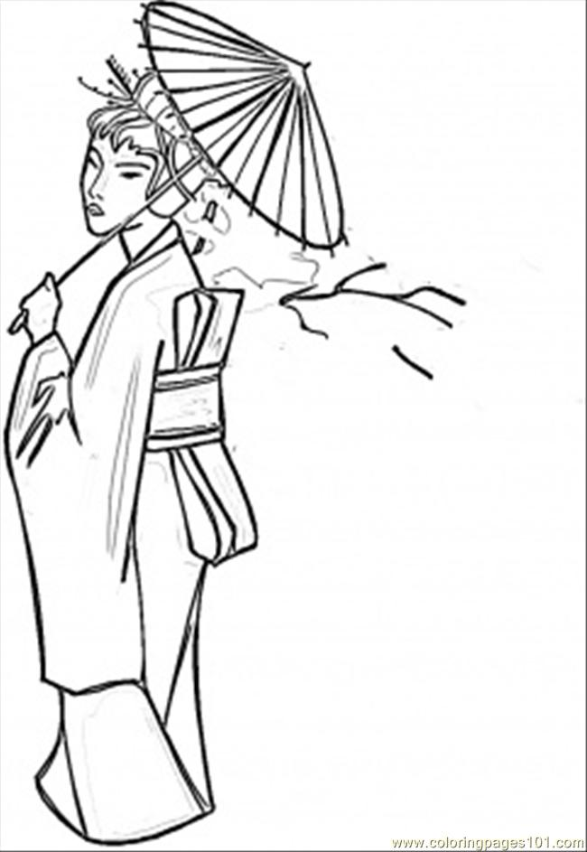 Lady With Umbrella Coloring Page Free Japan Coloring