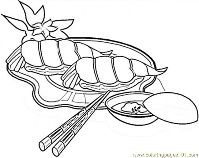 Shrimps Sushi Coloring Page