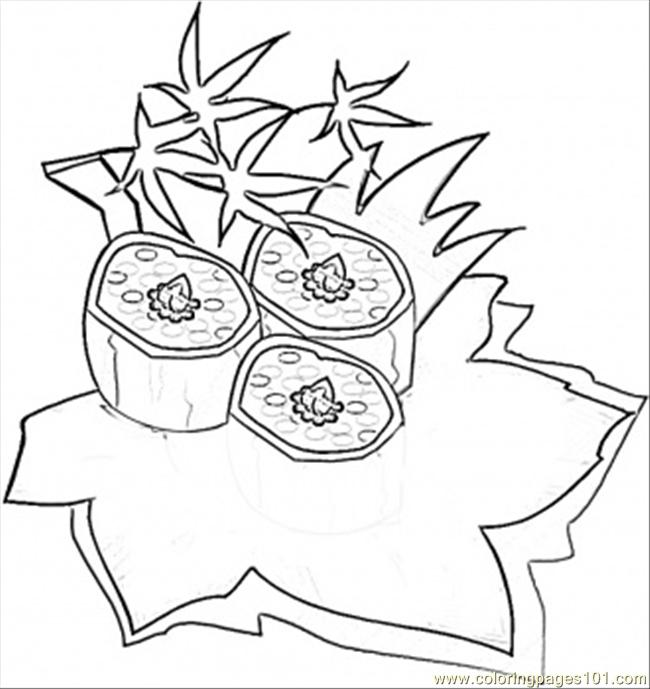 Sushi Rolls Coloring Page