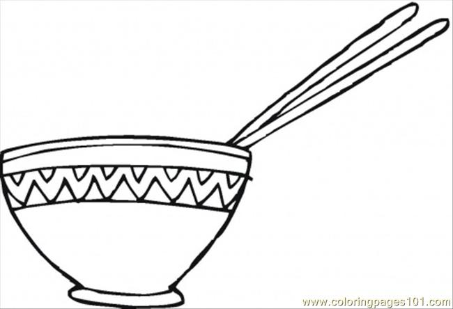 Chopsticks In The Bowl Of Rice Coloring Page Free