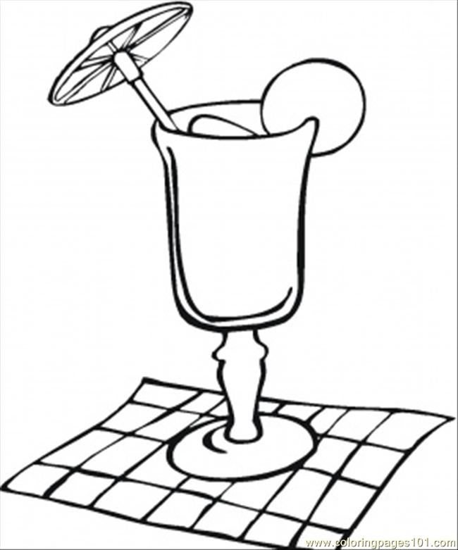 Cocktail Glass On The Napkin Coloring Page