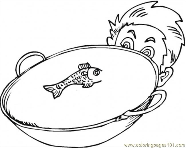 Fish In The Bowl Coloring Page