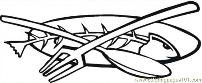 Fork Fish And Spoon Coloring Page