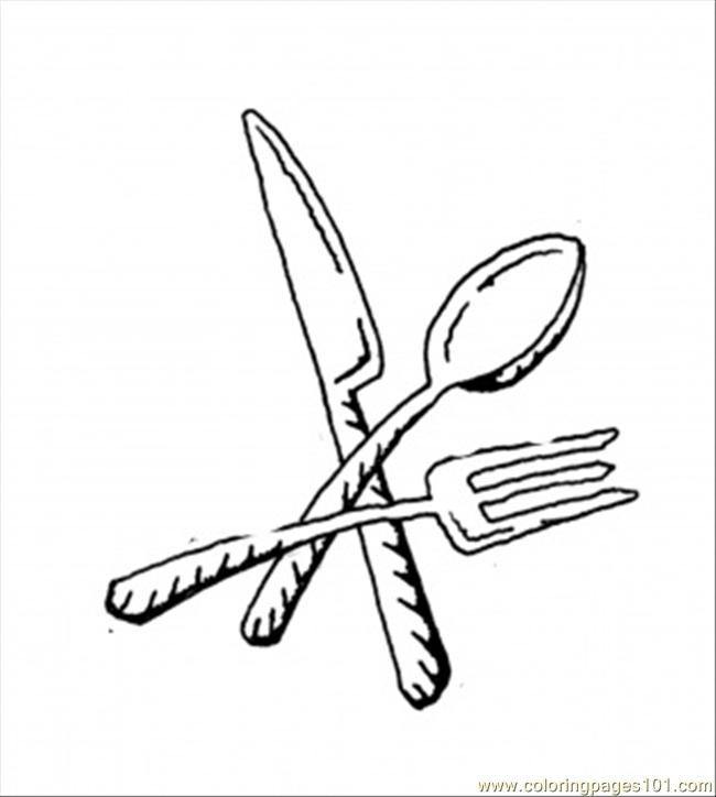 Fork Spoon And Knife Coloring Page