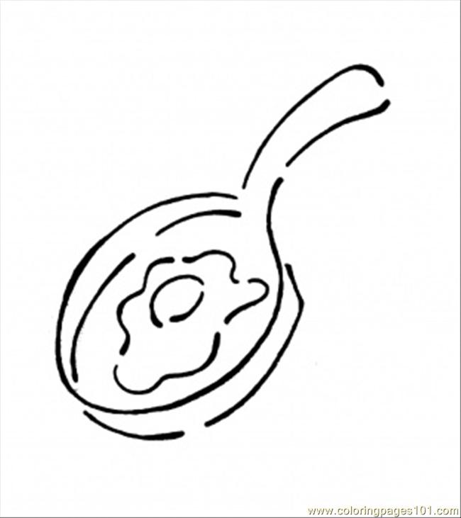 Frying Pan With Egg Coloring Page Free Kitchenware