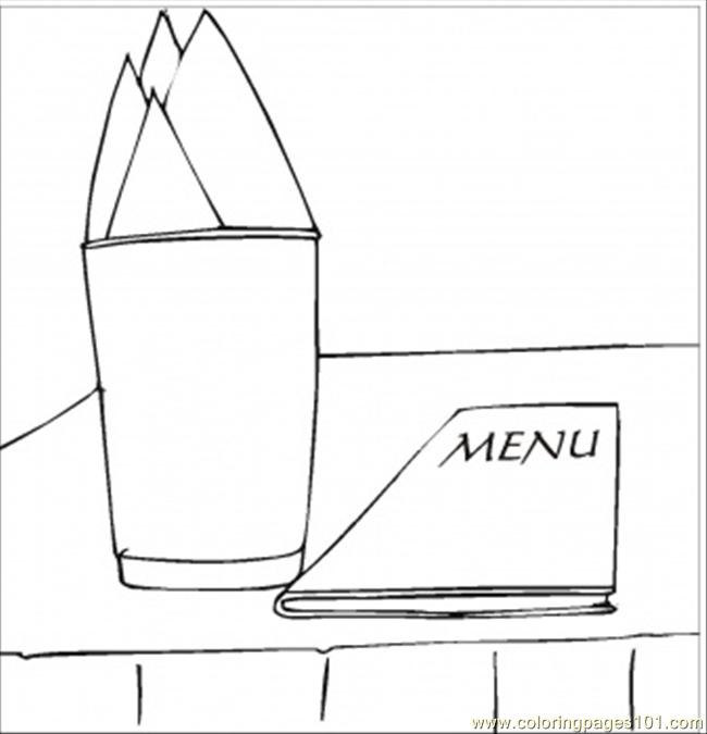 Menu And Napkins Coloring Page Free Kitchenware Coloring Pages
