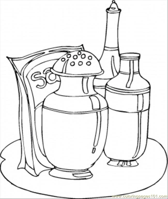 Salt And Pepper Set Coloring Page Free Kitchenware