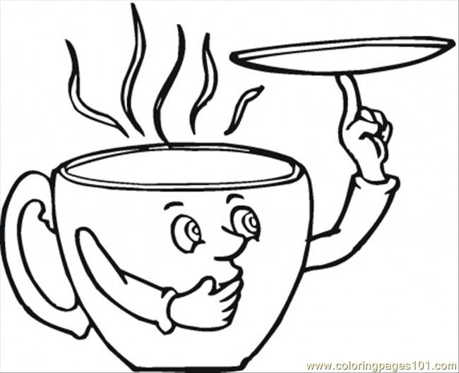 Saucer And The Coffee Cup Coloring Page