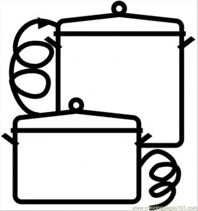 Set Of Saucepans Coloring Page