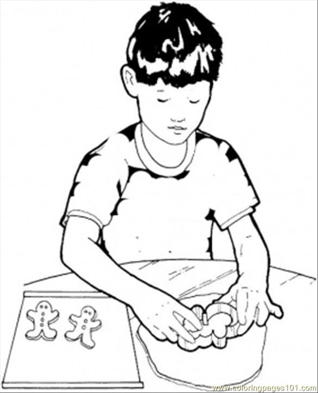Setting Cookies On The Baking Tray Coloring Page