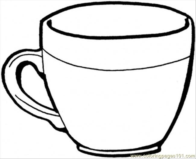 Teacup Coloring Page Free Kitchenware Coloring Pages