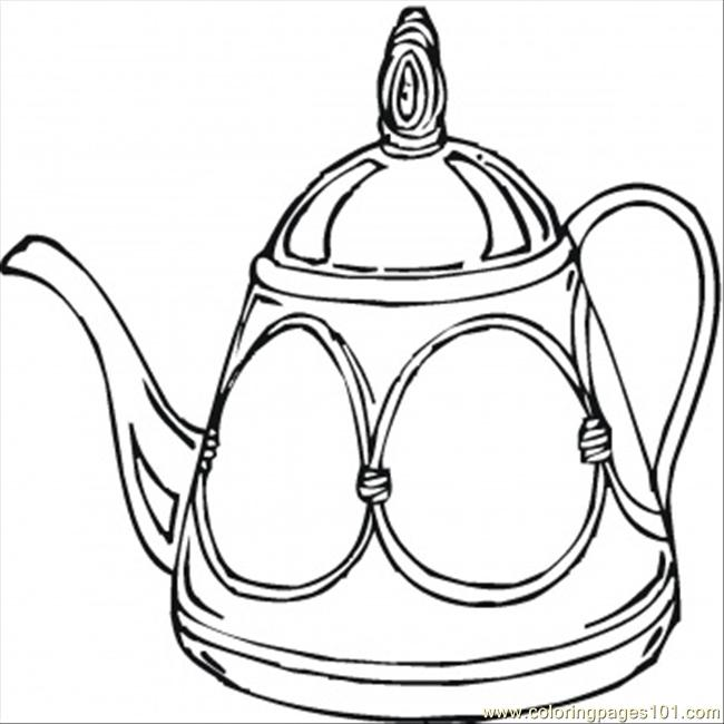 Teapot Coloring Page  Free Kitchenware Coloring Pages