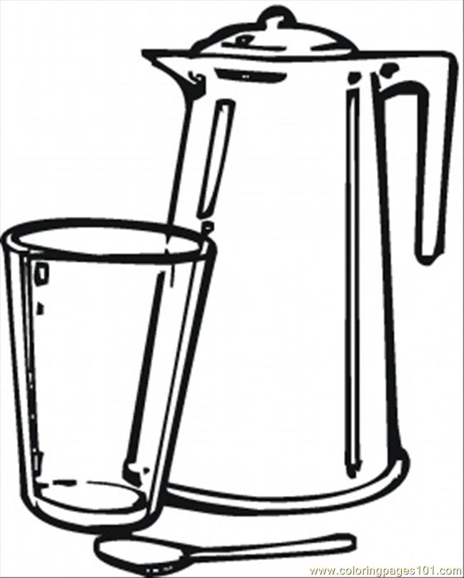 Teapot And Glass Coloring Page