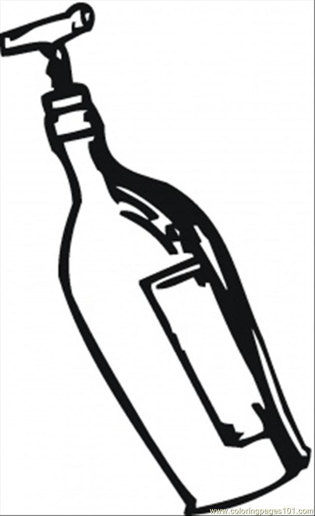 Opening Wine With Corkscrew Coloring Page