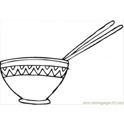 Chopsticks In The Bowl Of Rice Free Coloring Page for Kids