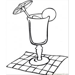 Cocktail Glass On The Napkin Free Coloring Page for Kids