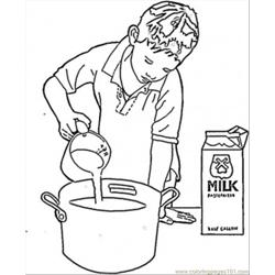 Cooking In The Pan Free Coloring Page for Kids