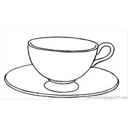 Cup And Saucer Free Coloring Page for Kids