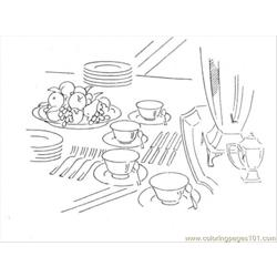 Dinner Table Free Coloring Page for Kids