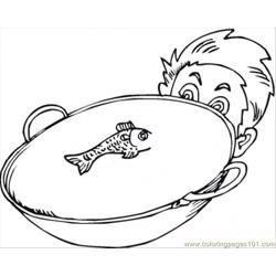 Fish In The Bowl Free Coloring Page for Kids