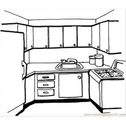 Kitchen Free Coloring Page for Kids