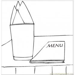 Menu And Napkins Free Coloring Page for Kids