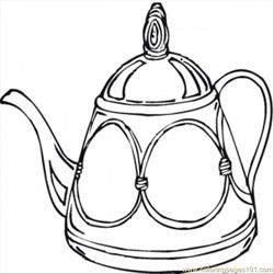 Teapot Free Coloring Page for Kids