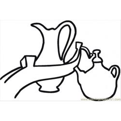 Teapot And Milk Free Coloring Page for Kids