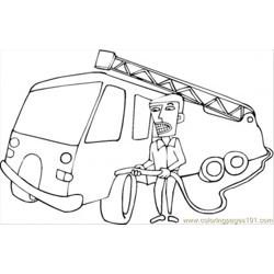 Car And Fireman Coloring Page
