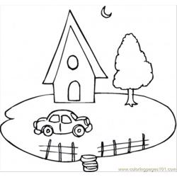 House And A Car Coloring Page
