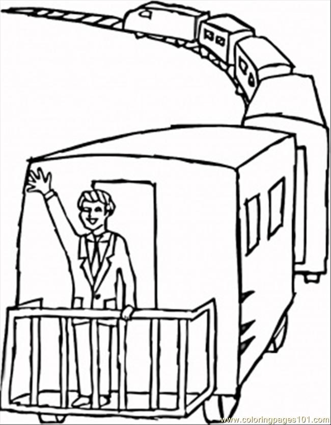 Waving From Caboose Coloring Page