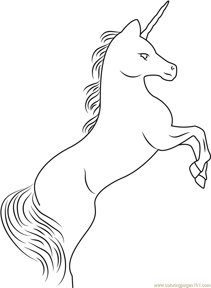 rampant unicorn coloring page