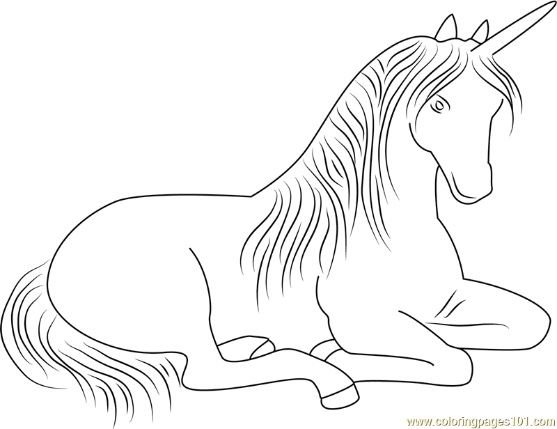 Sitting Unicorn Coloring Page