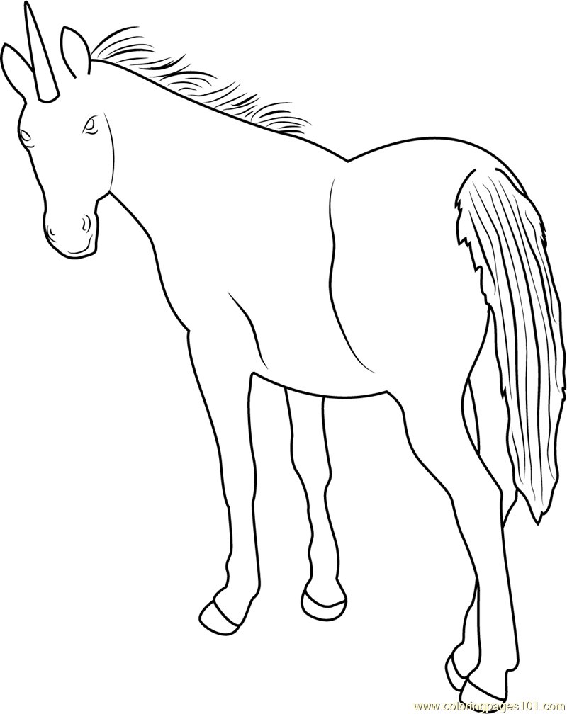 Unicorn Back Look Coloring Page - Free Unicorn Coloring ...