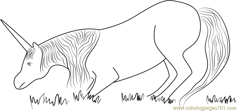 Unicorn Eating Grass Coloring Page