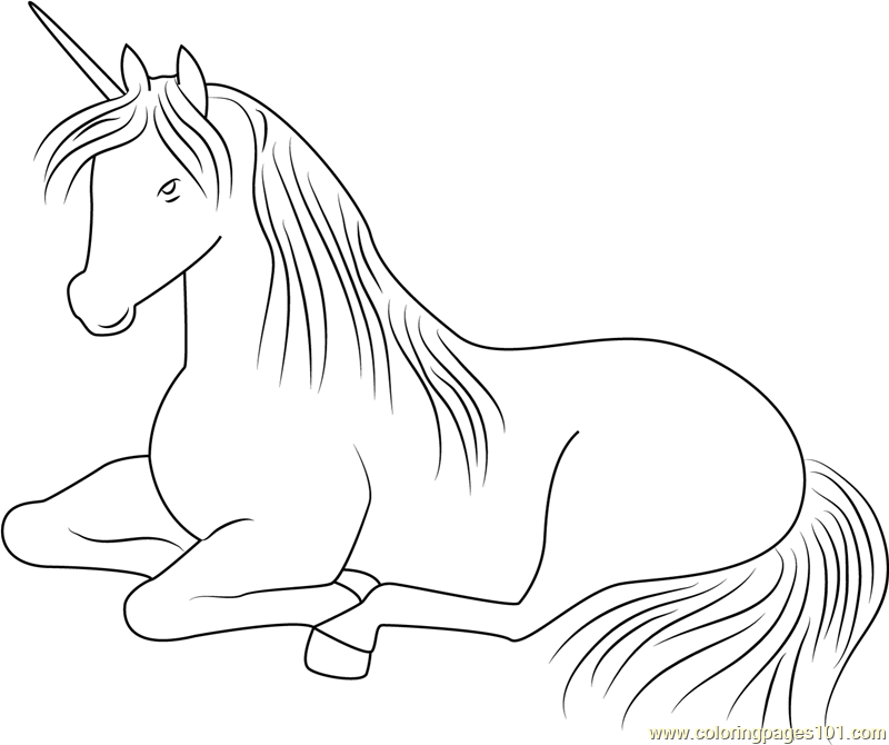 Unicorn Relaxing Coloring Page